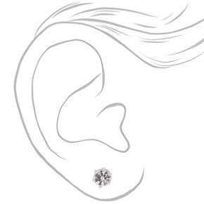 Silver Crystal Stud Earrings - Rainbow, 9 Pack,