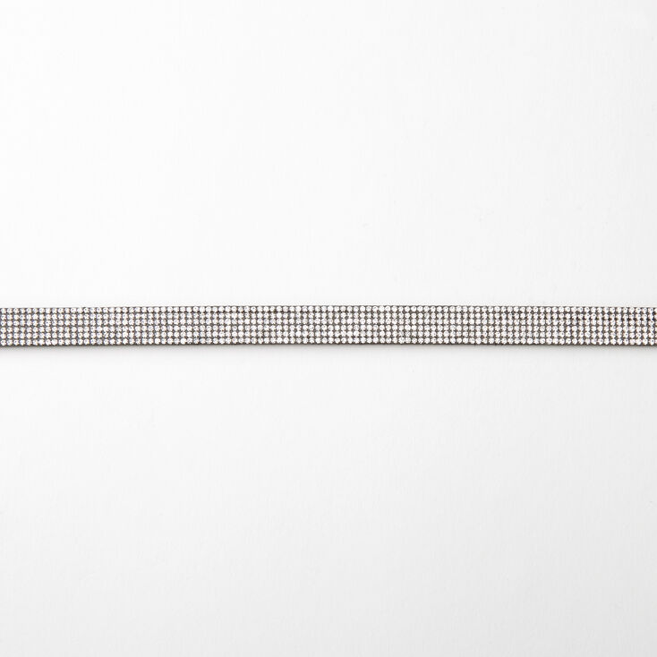 Bling Rhinestone Choker Necklace - Black,
