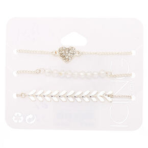 Silver Chevron Heart Chain Bracelets - 3 Pack,
