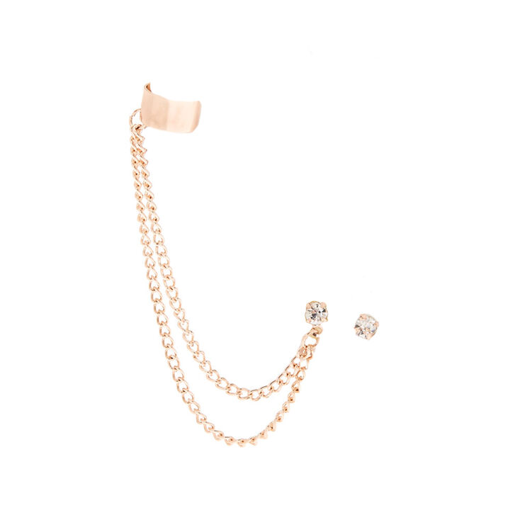 Rose Gold Mismatched Cuff Earring Set,