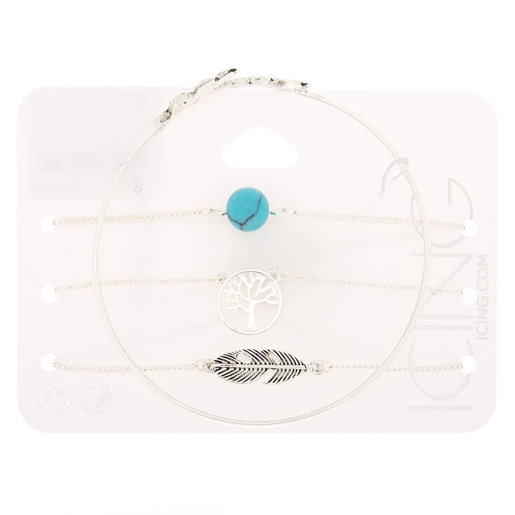 Silver Nature Bracelets - Turquoise, 4 Pack,
