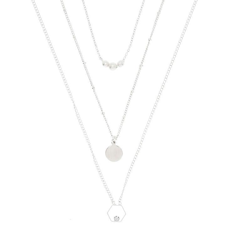3 Pack Silver Minimalist Pendant Necklaces,