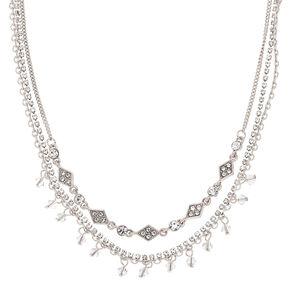 Silver Rhinestone Multi Strand Choker Necklace,