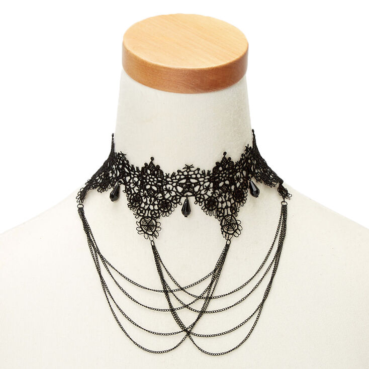 Steampunk Jewelry – Necklace, Earrings, Cuffs, Hair Clips Icing Lace Swag Choker Necklace - Black $12.99 AT vintagedancer.com