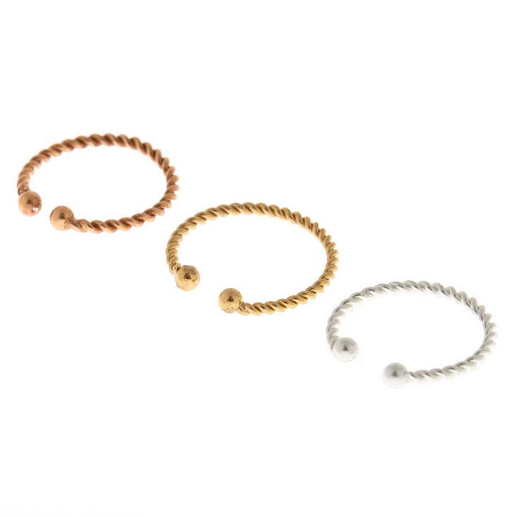 Mixed Metal Sterling Silver Braided Faux Cartilage Hoop Earrings - 3 Pack,