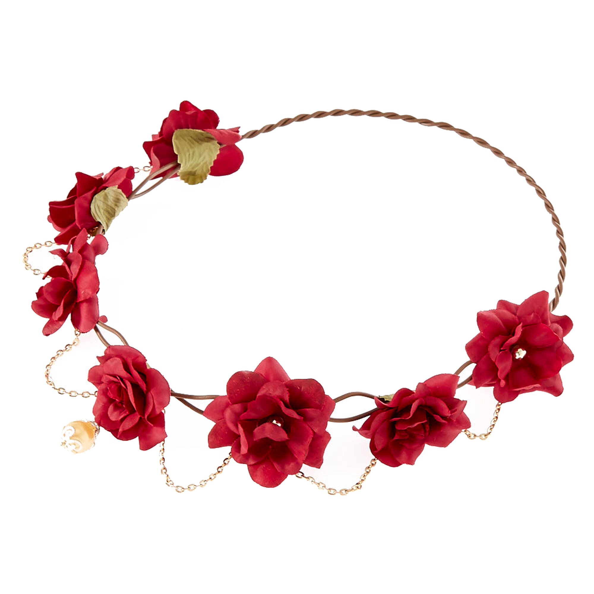 Gold chain burgundy flower crown headwrap icing us gold chain burgundy flower crown headwrap izmirmasajfo