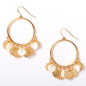"Gold 2"" Textured Circle Seashell Drop Earrings - White,"