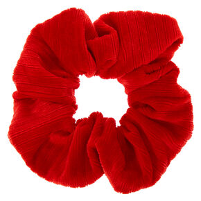 Ribbed Velvet Hair Scrunchie - Red,