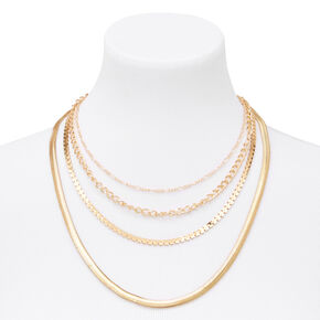 Gold Sleek Snake Chain Multi Strand Necklace,