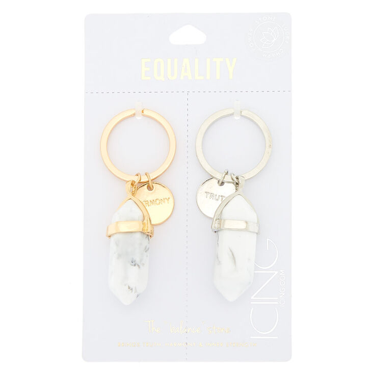 "Best Friends The ""Balance"" Stone Keychains - White, 2 Pack,"