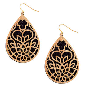"Gold 2.5"" Filigree Glitter Drop Earrings,"