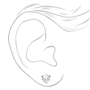 Silver Titanium Cubic Zirconia Round Stud Earrings - 7MM,