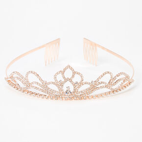 Lotus Flower Rhinestone Tiara - Rose Gold,