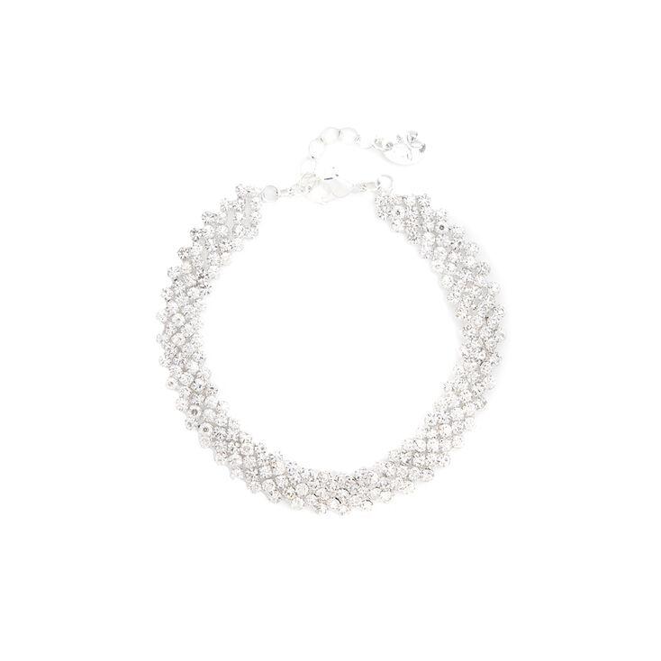 Silver & Rhinestone Zig Zag Bar Bracelet,