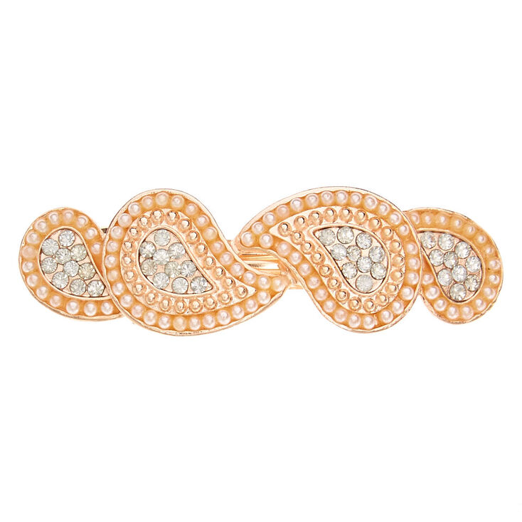 Rose Gold Pearl Teardrop Hair Barrette,