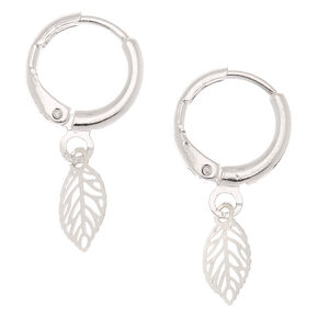 Silver 10MM Leaf Charm Hoop Earrings,