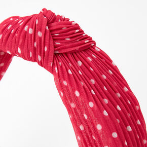 Polka Dot Pleated Knotted Headband - Fuchsia,