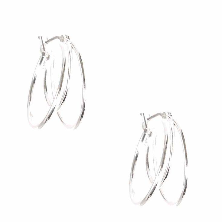 Silver Tone Mini Triple Hoop Earrings,
