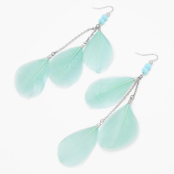 """Silver 4"""" Beaded Feather Linear Drop Earrings - Mint,"""
