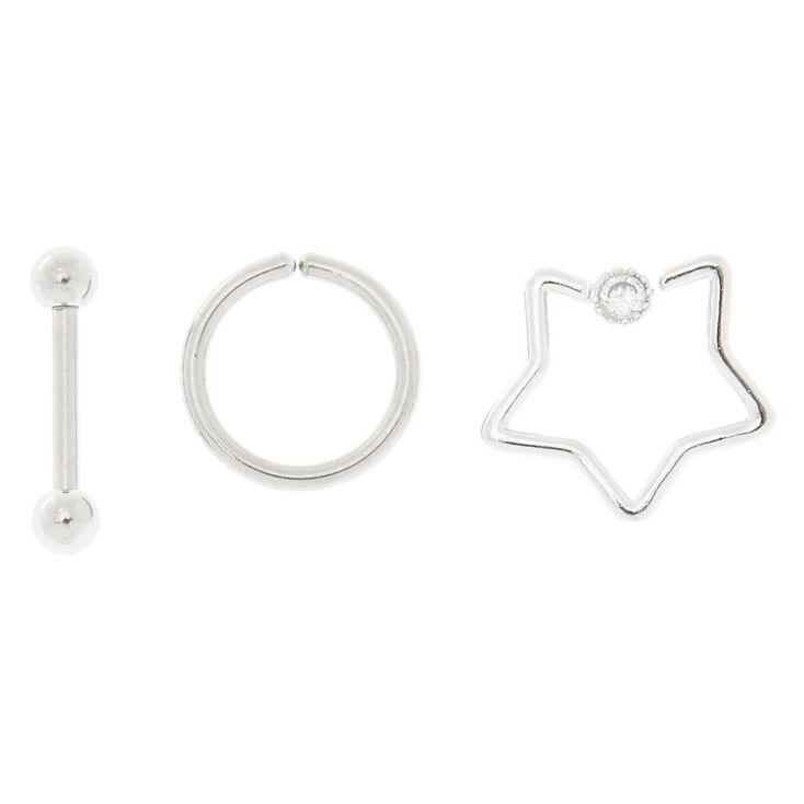 Silver 16G Mixed Shape Tragus Earrings - 3 Pack,