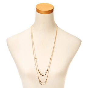 Rose Gold-Tone Diamond Disc Shape Multi-Strand Necklace,