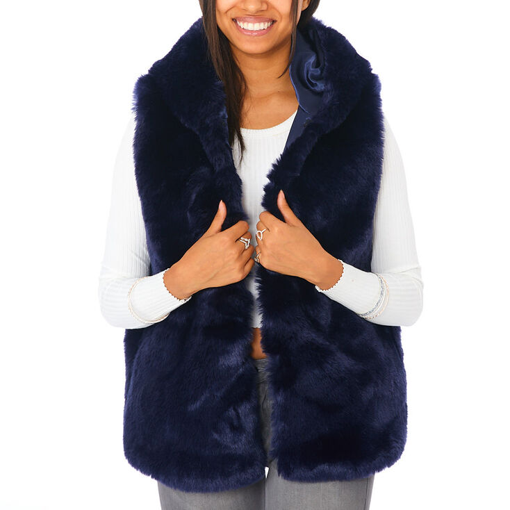 Faux Fur Hooded Vest - Navy,