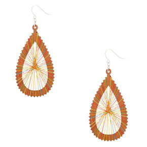 "Wood 3"" Rainbow Thread Teardrop Drop Earrings,"