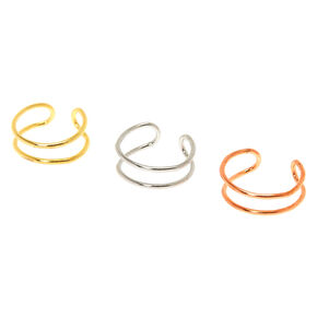 Mixed Metal Double Row Faux Cartilage Hoop Earrings - 3 Pack,