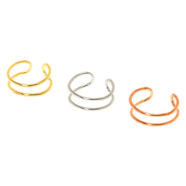 Mixed Metal Double Row Faux Cartilage Hoop Earrings - 3 Pack,