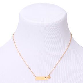Gold October Birthstone Bar Pendant Necklace - Rose,