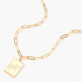 Gold Rectangle Zodiac Symbol Pendant Necklace - Sagittarius,