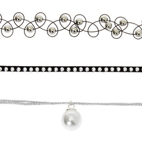 Silver Pearl Choker Necklaces - Black, 3 Pack,