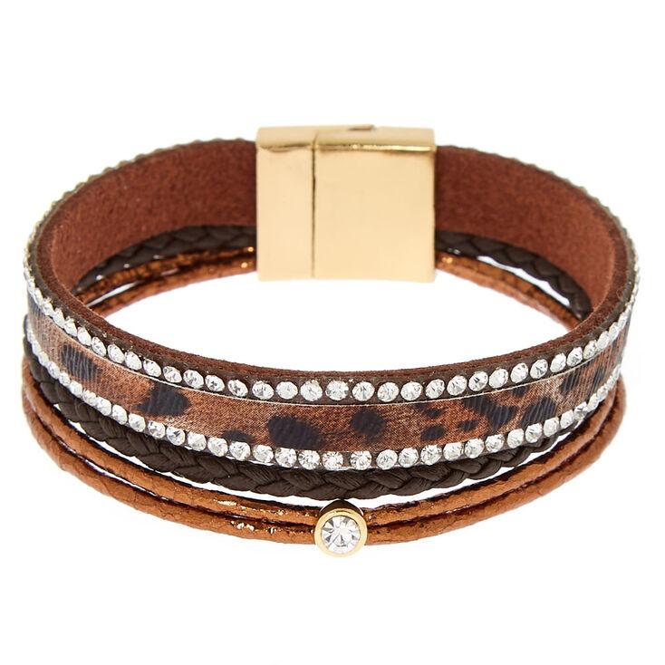 Leopard Wrap Bracelet - Brown,