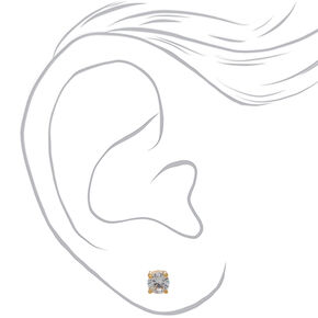 18kt Gold Plated 6MM Cubic Zirconia Round Stud Earrings,