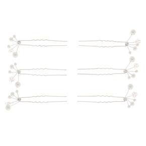 Silver Pearl Hair Pins - 6 Pack,