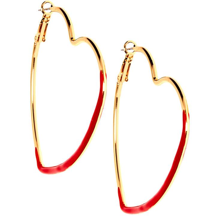 Gold 60MM Heart Hoop Earrings - Red,