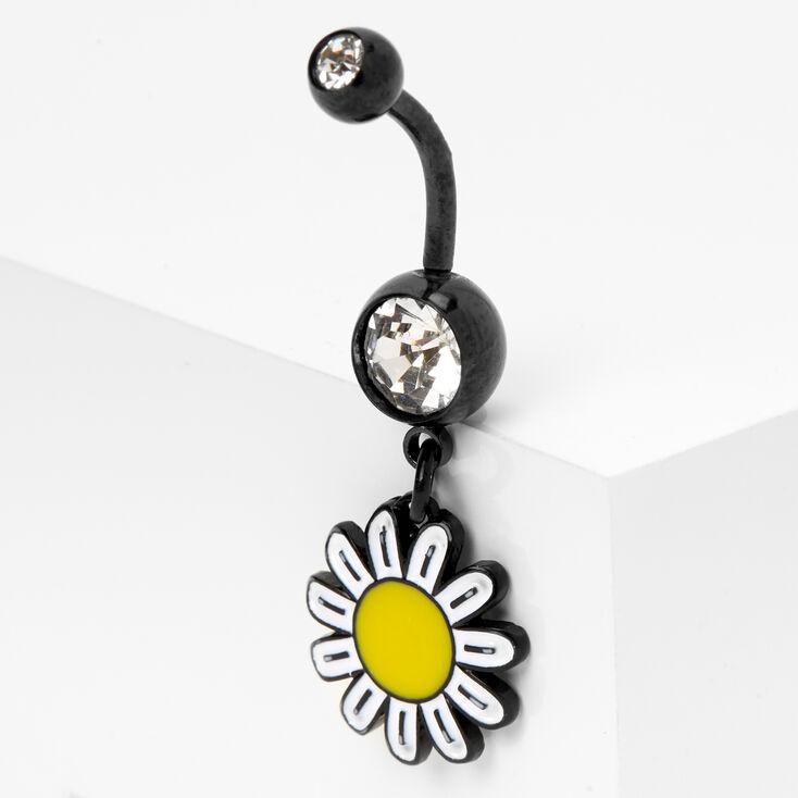 Black 14G Daisy Flower Belly Ring,