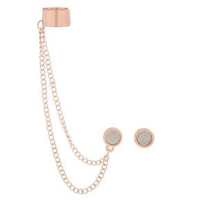 Rose Gold Glitter Connector Earrings,