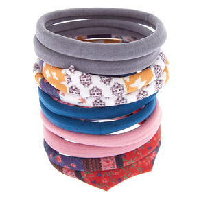 Floral, Paisley & Solid Hair Ties - 10 Pack,