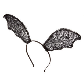 Lace Bat Wing Headband - Black,