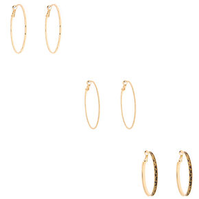 Gold 50MM Leopard Hoop Earrings - 3 Pack,