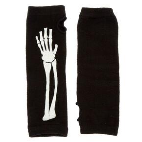 Glow In The Dark Skeleton Fingerless Gloves - Black,