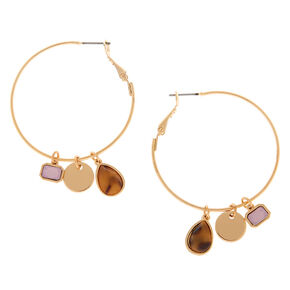 Gold 40MM Tortoiseshell Stone Charm Hoop Earrings,
