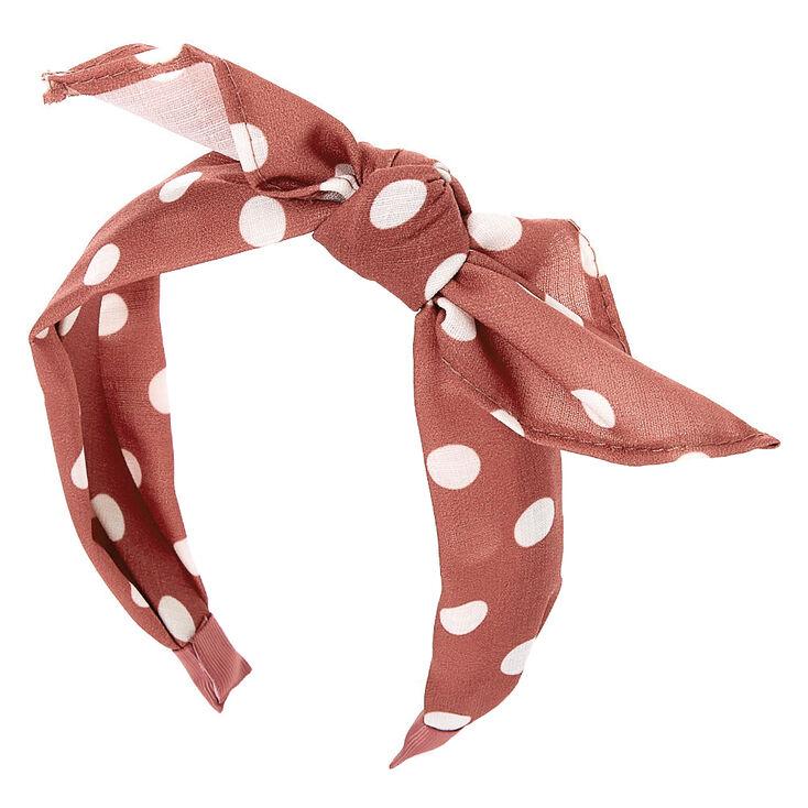 Polka Dot Knotted Bow Headband - Mauve,
