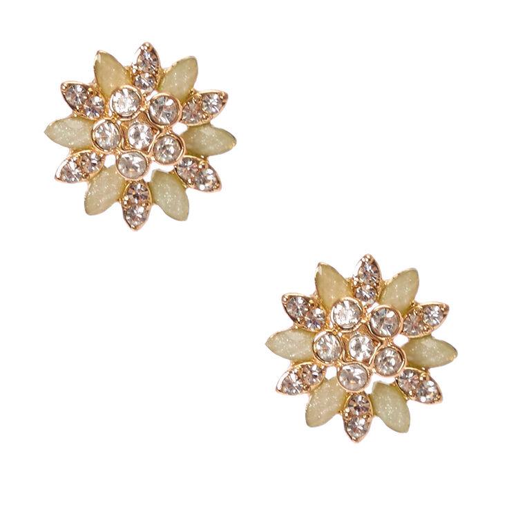 Gold-Tone & Mint Flower Stud Earrings,