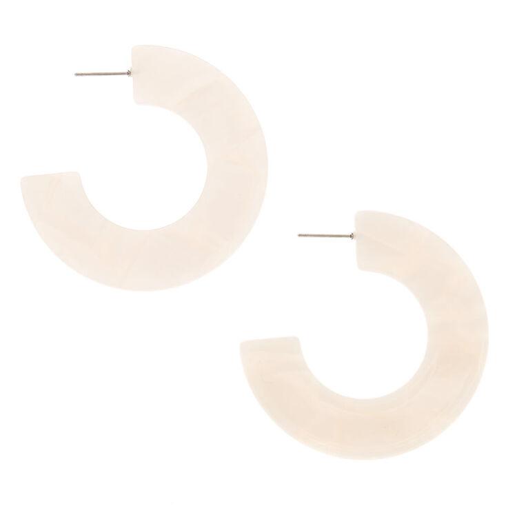 Silver 50MM Resin Hoop Earrings - White,