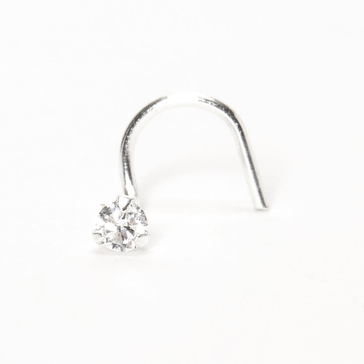 Silver 2MM Cubic Zirconia Stone Nose Stud,