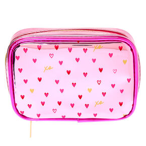 Mini Hearts Metallic Makeup Bag - Pink,