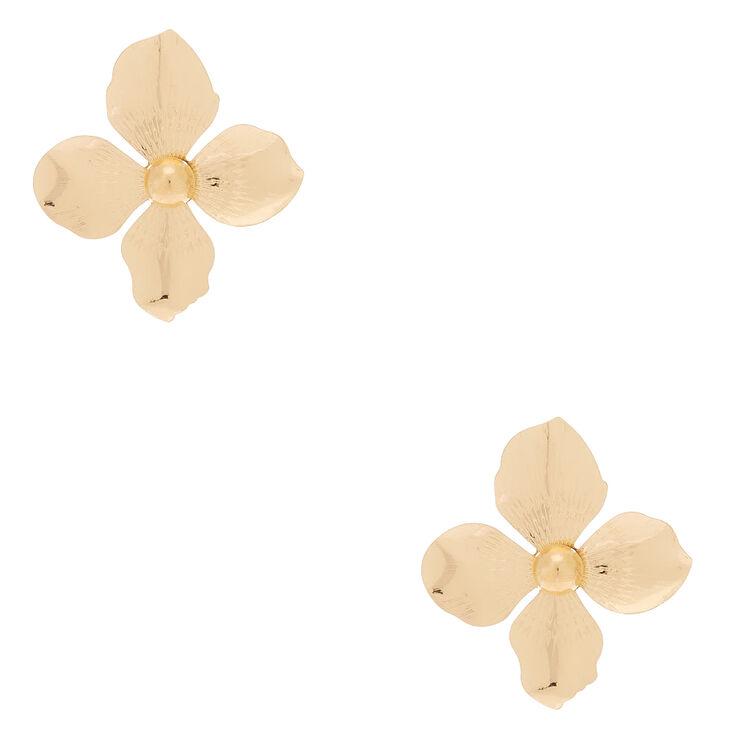 "Gold 2"" Flower Stud Earrings,"
