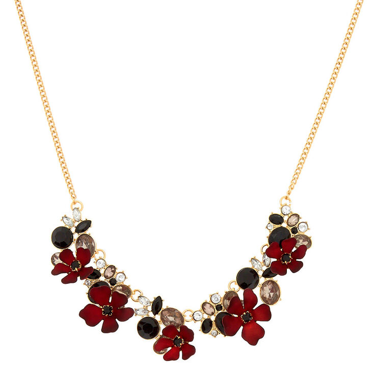 Victorian Floral Statement Necklace - Red,